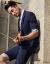 JDVメンズ夏の新作ファッションのプリント袖男性スーツSMS 8045 BLUブルー170/88 A