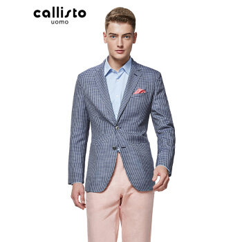 CALLISTOカリスト春秋チェックを少し入れて西修身ファッションスーツに激突して2粒のボタンスーツSJFJK 045 BL 50