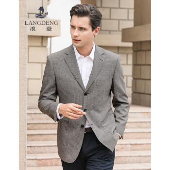 浪登2019春純毛ビジネススーツ中年男性スーツファッションチェックシート西YG 014カーキ色46 A