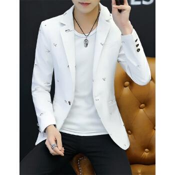 (京東優先)スーツ男2019秋新品ファッションカッコいいです。韓国式修身男士スーツ単西外套メンズ随郎結婚礼服白XF 32 XL