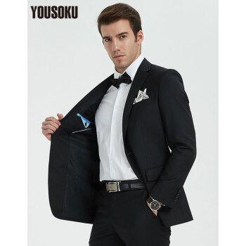 楊YOUSOKUウールスーツ男性上着フラットカラー修身青年ビジネススーツ黒YK 1200210-9 BE 6
