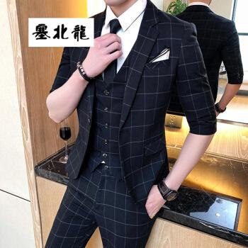 セイロン夏の若者ファッション男性の中袖七点スーツスーツ三点セットのチェック袖は韓国式修身スーツ黒(スーツ+ズボン+ベスト)XLを少し入れます。