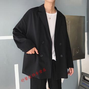 【シャツにネクタイを贈る】香港風の芸能人潮男の震音ins同じ新品の韓国式男性のパーフェクトスーツ秋おしゃれ学生はジャケットファッションコート黒XLを少し詰めています。