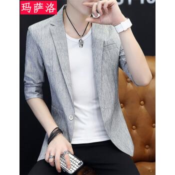 マサロ男性の夏の薄手の7分袖スエーツ韓国式修身おしゃれ中袖ブレザ夏の小ささいぬブレザ灰色175/XL