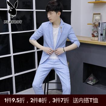 プレイボーイスーツ男性スーツ夏用薄手の中袖ミニスーツ男性韓国式ファッションスーツ男子学生パンツ七分袖コート829深灰色スーツM