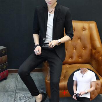 夏の男性はスーツスーツスーツスーツスーツを少し詰めます。韓国式修身インロン風薄手のコートです。夏のスーツは格好がいいです。808黒のスーツに+Tシャツは175/XLです。