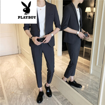 プレイボーイの旗艦店の中で袖の職業スーツの男性2019夏新品の職業正装花婿の礼服の中で袖の7分のズボンのスーツのスーツの深い灰色の2 XL