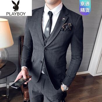 プレイボーイプレイボーイPlayboyオフィシャルショップスーツ男性三点セット青年かっこいい韓国式修身スーツ新郎結婚ドレスイギリス風グレースーツ+ズボン+ベストネクタイM