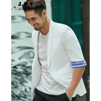 JDVメンズ夏季新品ファッションシンプルホワイト半袖シンプルスーツSMS 8502 WHTホワイト175/92 A