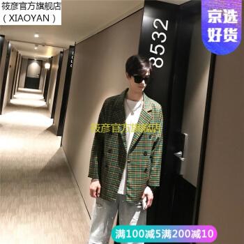 【直営好品】TIMボーイッシュチェックスーツ男性2019春服ヴィンテージファッション韓国風少しスーツの中の長めの上着緑色M