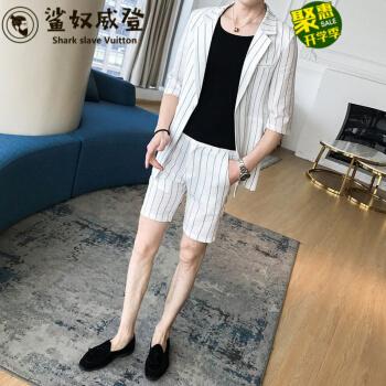 【夏のスーツ】2019新品のザメ奴隷夏7分袖小さいスーツ男性セット韓式修身カッコイイストライプを少し詰めて、男性スーツに短パンの薄白(スーツ+ズボン)+ネクタイMをプレゼントします。