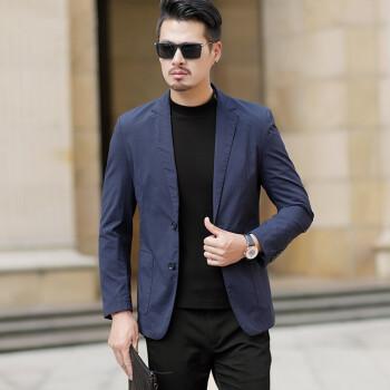ファザニア軽贅沢ブランドスーツ男性2019秋新作メンズスーツ薄手の修身綿のシンプルな西ジャケットブルー180/XL