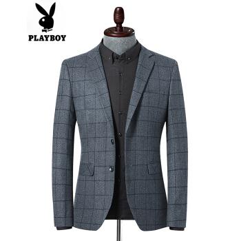 PLAYBOY/プレイボーイオフィシャルスーツ男性2019秋新品男性ビジネス少し大きめのチェックのスーツ男性ファッション修身二割引の単西男性便西外套黒灰色170/M