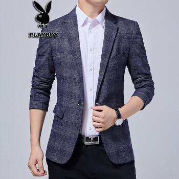 プレイボーイ春と秋の少しのスーツの男性の青年のスーツのスーツの正装韓国風の単西の上着の男性HHGZ-HGZ 8615青い色M