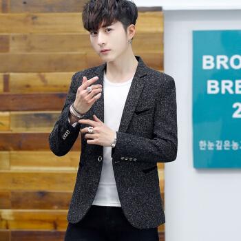 レオドンスーツ男性2019秋新品韓国式小さいスーツ男性青少年修身おしゃれ学生は単西ジャケット黒Mを少し詰めます。