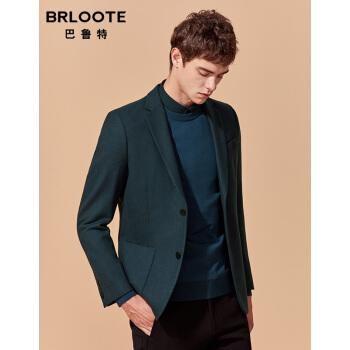 Brloote/バルトスーツ男性は青年の純毛の修身スーツを少し詰めます。西外套は春と秋に青緑の175/96 Aを詰めます。