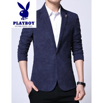 プレイボーイスーツ男性は、コーデュロイの小さいスーツを少し詰めます。2019秋新品の中で、青年ファッションビジネス修身単西外套メーンズ港の風潮男性は紺色です。