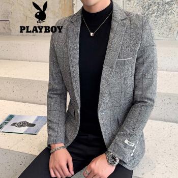 プレイボーイスーツ男性2019新品男性はスーツを少し詰めて韓国式修身がかっこいいです。