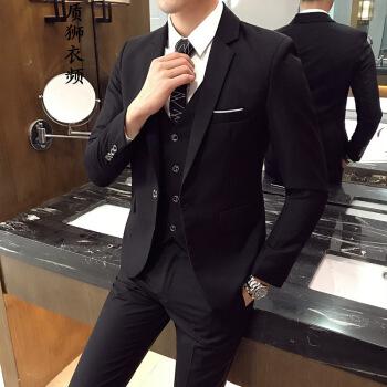 スーツスーツの質の男性2019年春新品男性は小さいスーツを少し詰めます。韓国式修身ジャケットビジネスの略装職業正装スーツ男性スーツの大きいサイズの黒(単品のコート)M/170