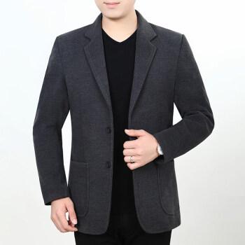 ブランドの人気があるグラード中年スーツの男性は秋のゆるい色の中老年厚いスーツの男性ジャケットの西の上着のお父さんは濃い灰色の170/74を詰めます。