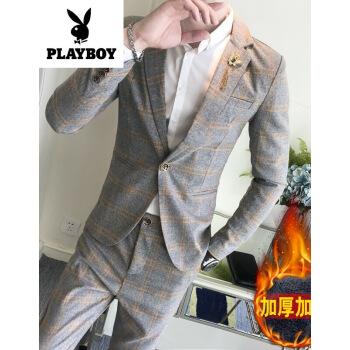 プレイボーイのフラッグシップショップの正規品()スーツの男性のレギュラーモデルの加絨の格子のスーツは男性のラングの加絨をかぶせます。
