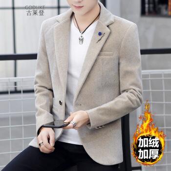 グラードスーツ男性秋冬韓国式修身ラシャの上着と毛の厚いヘアスタイリストの格好のウールの顔は簡単で大気青年ビジネススーツ男性のコートの色は2 XLです。