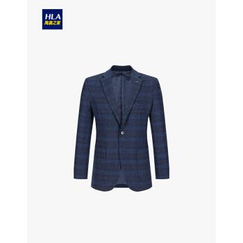 HLA海澜の家のチェック柄の毛です。背広を少し詰めます。2019年秋冬にビジネス紳士向けのスーツを販売しています。HWXAD 3 R 144 A紺青のチェックB 4 180/100 B