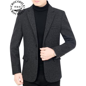 ワニのTシャツ男性2019秋新品の中年男性の単品毛です。小さいスーツはやや厚めのコートを着ています。父は秋冬の上着に黒灰色の78265/XLを着ています。
