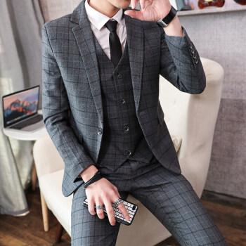 ブランドの人気があるグラドン秋冬青年イギリス風スーツ韓国式修身男性スーツ3点セット結婚式新郎礼服かっこいいT 8205灰色【スーツ+ズボン】シャツとネクタイのベルトM 28をプレゼントします。