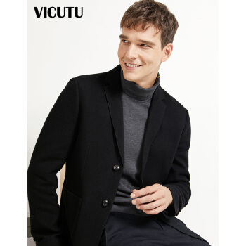 VICUTU男性カジュアルビジネス修身ウール黒のフラットカラースーツVREW 17319871黒180/96 A