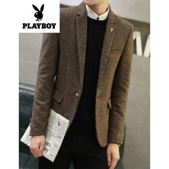 プレイボーイの旗艦店の規格品は新品です。男性のスーツは小さくて、韓国式のまねる麻免除のファブリックの青年の上着は少しオーバーを詰めて湿っています。2 XLです。
