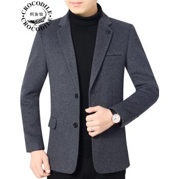 ワニのTシャツ男性2019秋新品の中年男性羊毛です。オーバービジネスは少し内装します。お父さんはシングルスーツの灰色78265 180/XLです。