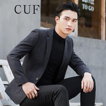 CUF香港ファッションブランドの毛です。ブレザーメンズ2019秋冬新作ビジネススーツジャケット修身韓式厚手のラシャを少し詰めた上着はイギリス風の黒180 cmです。