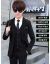 富貴鳥スーツ男性三点セット韓国式修身青少年スーツ学生服スーツ結婚正装ファッション黒スーツ(ダブル純色)+ズボン+シャツ+ネクタイ+ベルトM