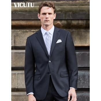 VICUTUメンズスーツにスーツをセットし、ビジネス用に純毛輸入生地のプロスーツVB 8312393黒180/100 B