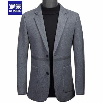 ロモンスーツ男性ウールスーツ青年スーツビジネススーツ職業単西純色コート2019秋冬新品毛洋服男性上着灰色170/M