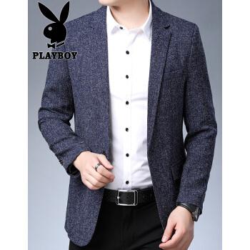 プレイボーイの小さいスーツ男性2019秋冬ビジネス男性スーツ韓国式修身おしゃれ男性ニットはスーツをアイロンなしで純色の服を着ます。