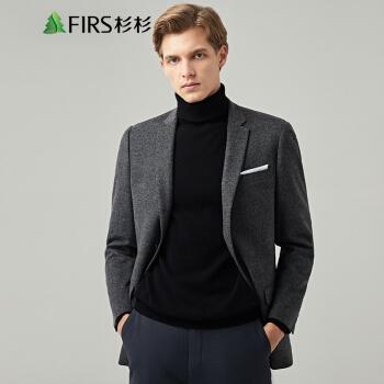 FIRS(FIRS)スーツ男2019秋冬シンプルウール厚手スーツ男FXWB 3062-1深灰76*106