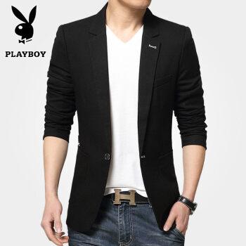 プレイボーイの小さいスーツの男性は秋に普通は少し韓国式の修身おしゃれ男性のスーツの純色は西のコートの1873黒XLです。