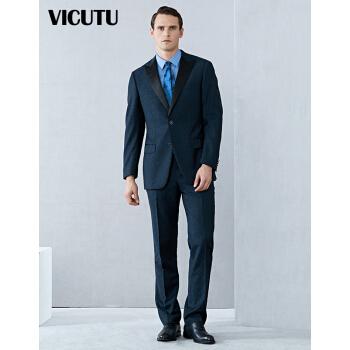 VICUTU男性スーツに青いチェックのウールのファッション服を着たスーツ男性VBS 15112241青いチェック180/100 B