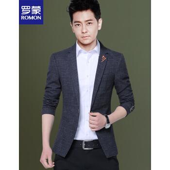 ロモン(ROMON)秋の男性スーツビジネス少し身を装飾します。小さいスーツの男性のサイズが大きいです。上着は韓国式です。単西のファッションスーツは灰色の5 XLを正装しています。