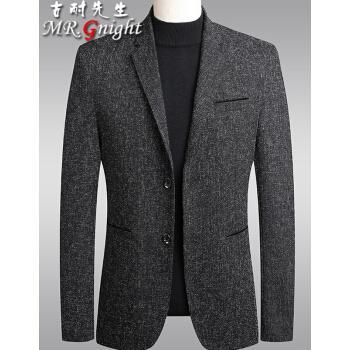 古耐さんスーツ男性秋冬新作ビジネススーツ男性流行灰色スーツコート韓国式職業正装スーツ青年修身ファッションビッグサイズ服深灰色XL