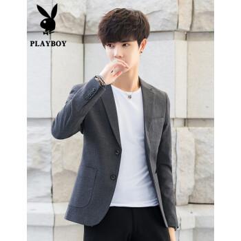プレイボーイ2020年春新作スーツ男性コート韓国式おしゃれ修身上着スーツカッコイイ職業二錠正装灰色L