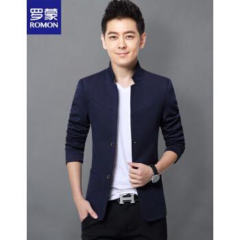 ロモン(ROMON)スタンドカラーのスーツ男性2020新品ファッション略装韓国式おしゃれスーツ男性用青年修身スーツスーツ青いM