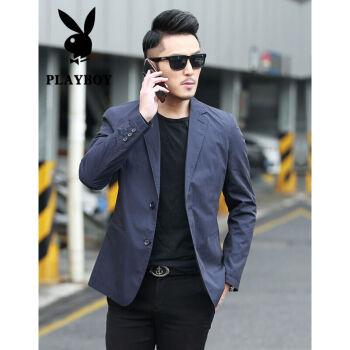 プレイボーイスーツ男性薄手の春夏スーツ単西コート2020新品中青年略装修身小スーツ韓国式ファッション1017ブルー175/L