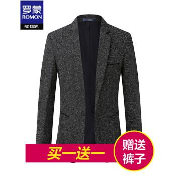 ロモン(ROMON)小さいスーツを少し詰めます。男性用のスーツです。春の新品です。韓国式修身おしゃれ男性用の薄手のサイズは西メーズ601黒XLです。