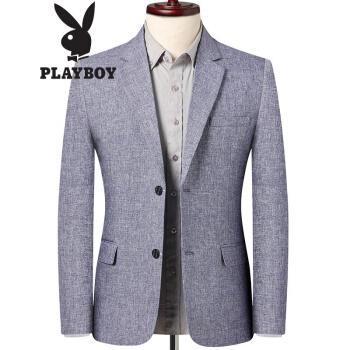 プレイボーイスーツメンズ2020年春夏新品青中年ビジネス少し薄手のコート韓国風スーツ男性用西単上着77202藍灰色170