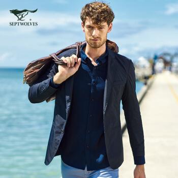 七匹のオカミスーツ男性春秋ビジネススーツ単色スーツ単色長袖ジャケットメンズ上着黒175/XL