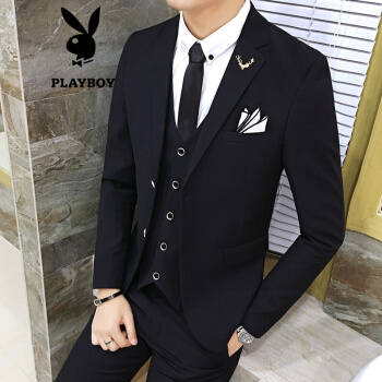 プレイボーイ(PLAYBOY)スーツ男性スーツ韓国式修身純色ビジネススーツ男性スーツ新郎結婚ドレスコート黒ダブル/スーツ+ズボンL/115-130斤