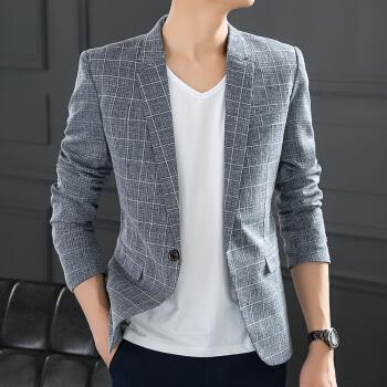 スーツの男性は春秋まねる亜麻の男性はスーツのチェックの小さいスーツを少し詰めて身を修めます。韓式おしゃれのジャケットの格好がいい上着は夏の格子の灰色の48/M【115斤以内】